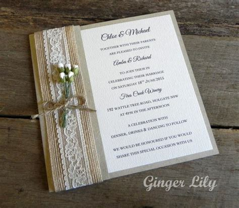 rustic lace wedding invitation diy kit by gingerlilyweddings