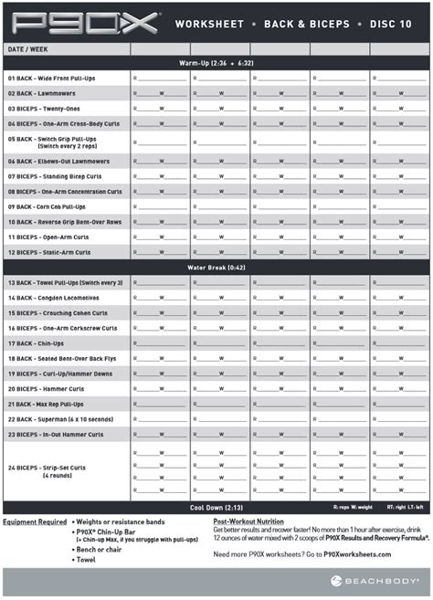 Chest And Back P90x Worksheet by Arms Workout Arts