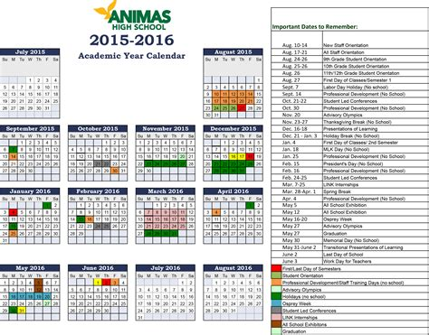 American Calendar 2015 Ahs 2015 2016 School Calendar Animas High School