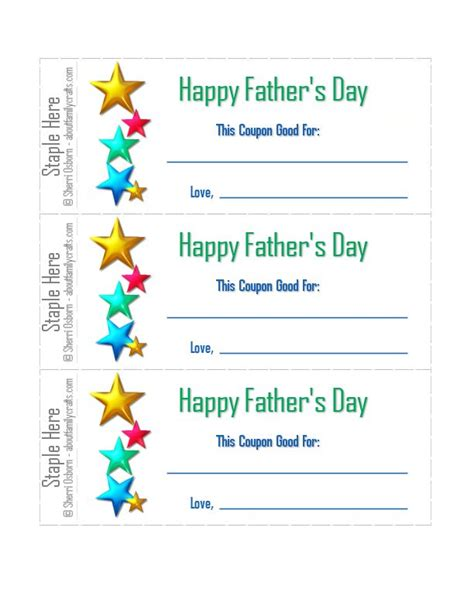 Printable Coupons For Father S Day About Family Crafts S Day Coupon Template
