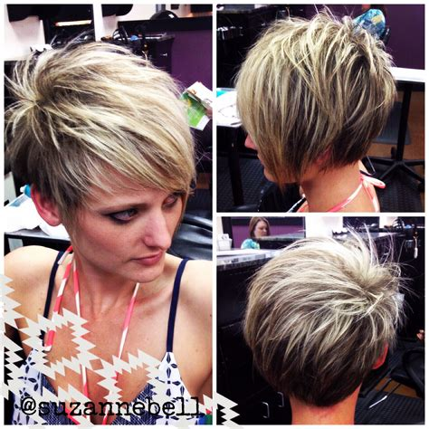 short pixie haircuts with asymmetrical bangs front and side view asymmetrical pixie hair inspiration pinterest