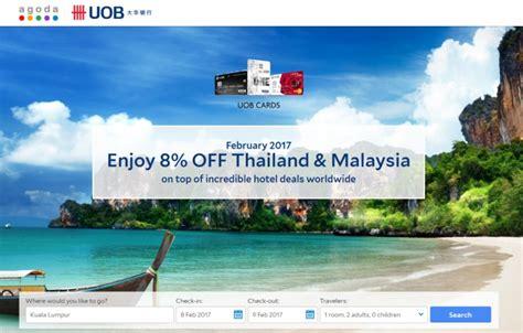 agoda uob 8 off agoda thailand malaysia hotels booking with uob cards