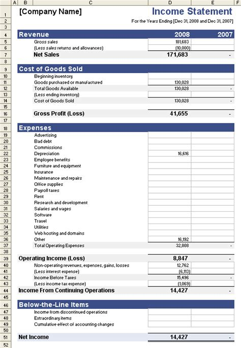 Income Statement Template For Excel Income Statement Template Excel