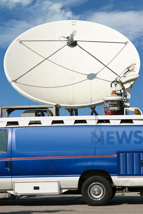 news van satellite dish stock images   royalty