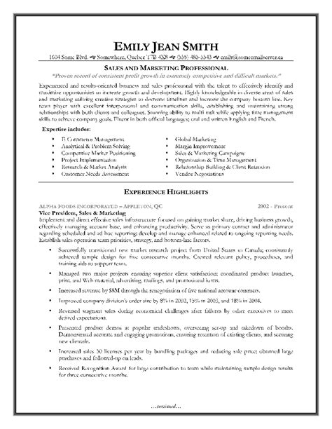resume exles sales sales and marketing resume sle page 1 resume writing