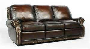 creme reclining leather sofa with vintage design