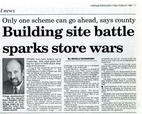 A News Paper - store wars newspaper cutting regarding the possible move