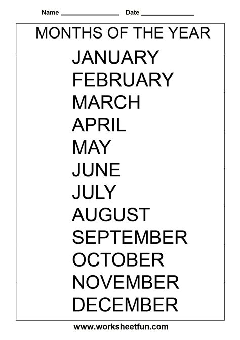 esl printable worksheets months of the year 8 best images of printable tracing months months of the
