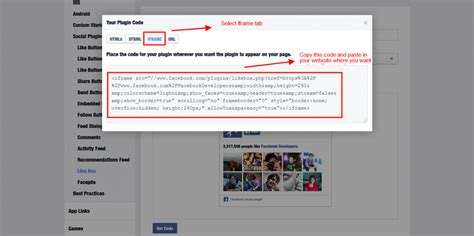 facebook themes code how to display facebook like box in webisite