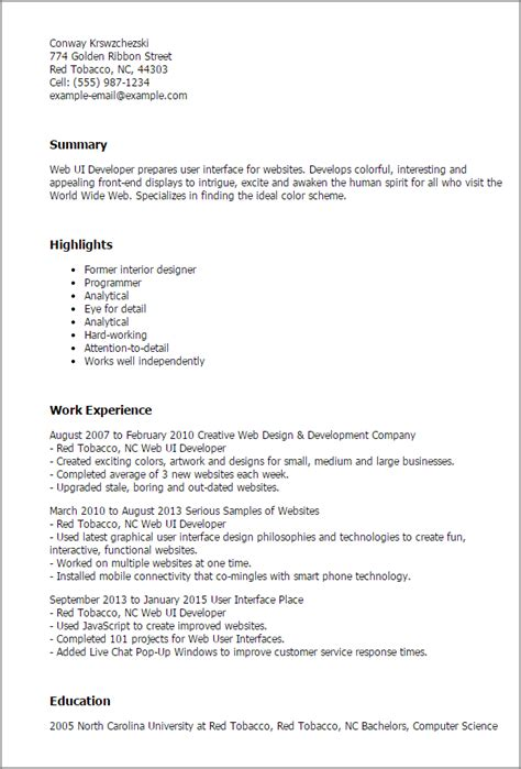 sle resume for ui developer sle resume