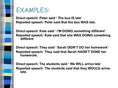 Essay Direct Speech by Reported Speech