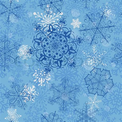 christmas seamless pattern with big blue snowflakes