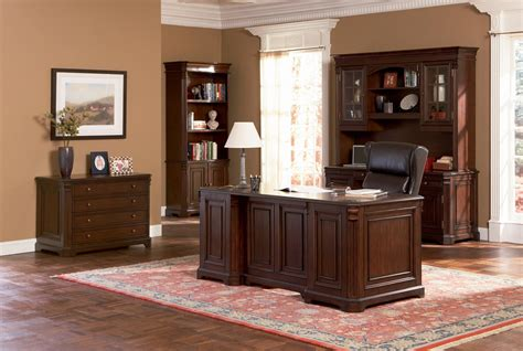Wooden Desks For Home Office Brown Wood Desk Set Classic Paneled Home Office Furniture Collection In Medium Walnut Finish 4820