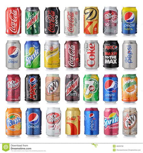 soda alimentare set of various brand of soda drinks editorial photography