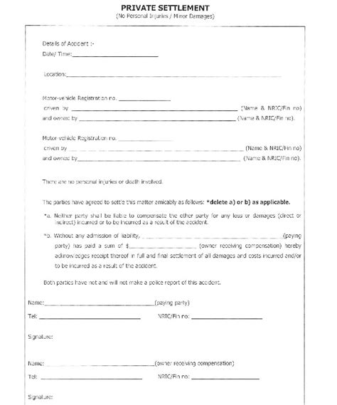 car accident settlement agreement form uk templates