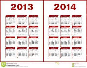 Calendar for 2013 2014 red letters and figures on a white background
