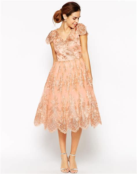 chi chi wrap front midi prom dress in premium metallic lace in pink lyst