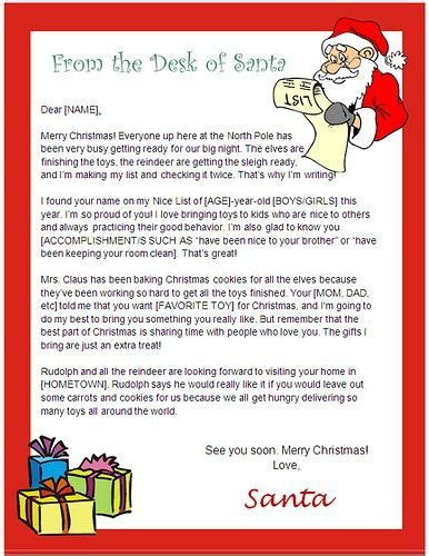 Letter From Santa Template Word Usable Ms Word Template From Santa Letter Printable Letter From Santa Template Word