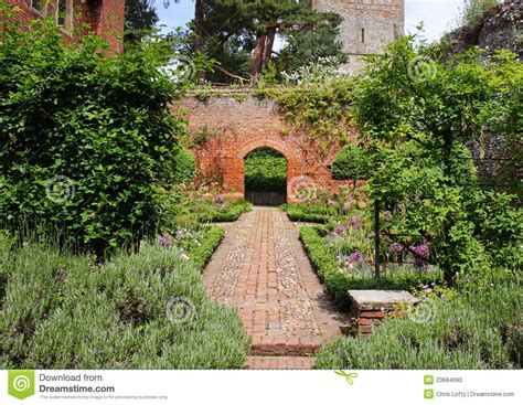 An English Walled Garden With Arch Stock Photo Image What Is A Walled Garden On The