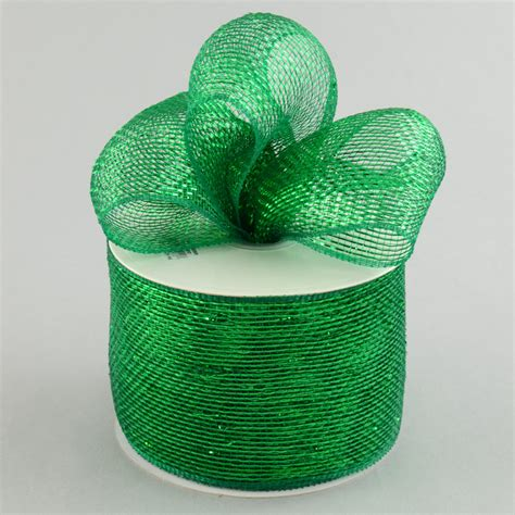 deco mesh 4 quot poly deco mesh ribbon metallic emerald green rs200506 craftoutlet