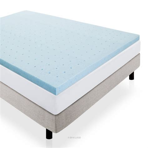 foam bed pad lucid 2 inch gel infused ventilated memory foam mattress