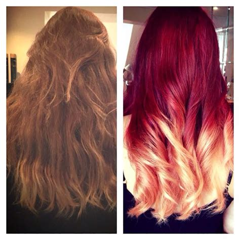 red and blonde hombre pics red into blonde ombre by jody lee salons direct