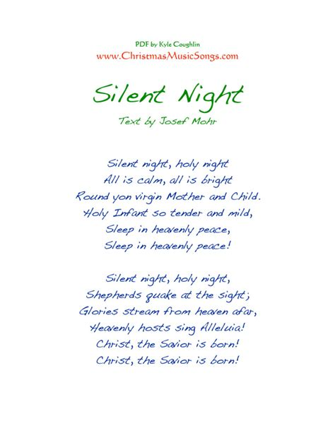 printable lyrics to silent night words to silent night printable printable paper