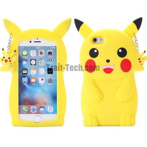 go 3d pikachu soft silicone back cover with a hanging small pikachu for iphone 6