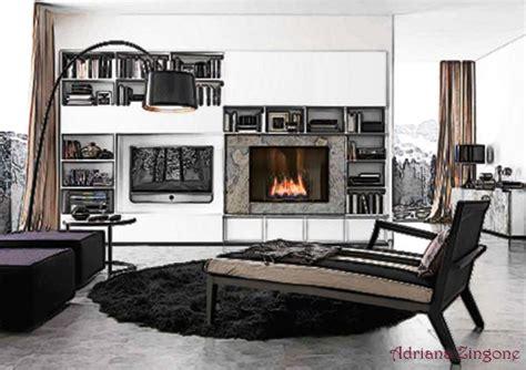 camino e tv parete attrezzata moderna con camino e tv