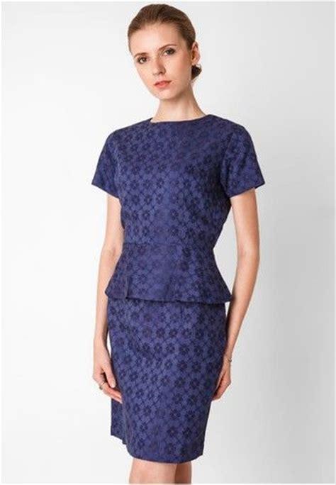 Dress Wanita Peplum Biru model baju batik kerja wanita modern biru model busana