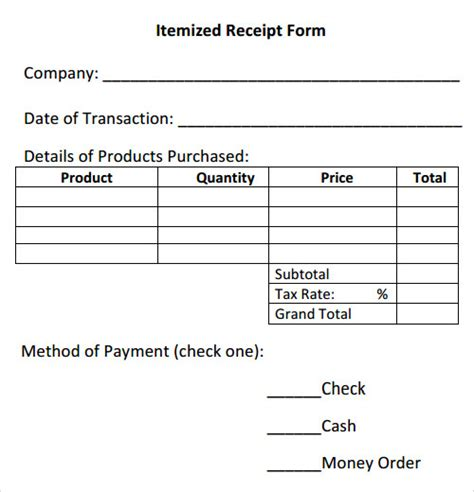 itemized receipt template excel receipt template 15 free documents in pdf