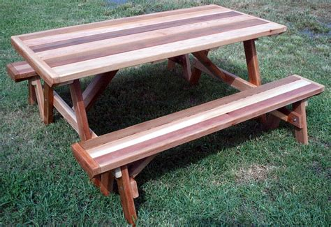 wood work picnic table plans detached benches  plans