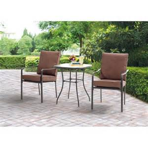 Bistro Set Outdoor Furniture by Mainstays Crossman 3 Piece Outdoor Bistro Set Ii With Arms