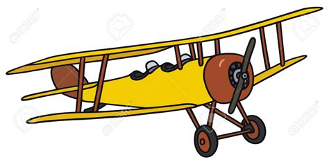 drawn aircraft biplane pencil and in color drawn