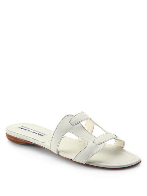 white slide sandals lyst manolo blahnik grella leather slide sandals in white