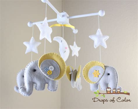 Baby Crib Mobile Baby Mobile Elephant Mobile Neutral Mobiles For Baby Cribs