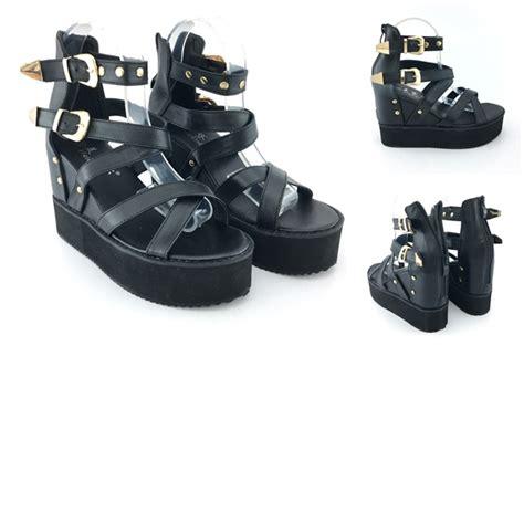 Wedges Fashion Import 1 jual shw201828 black sepatu wedges import wanita 4cm