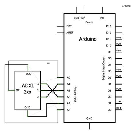 accelerometer circuit diagram adxl3xx accelerometer using an arduino use arduino for