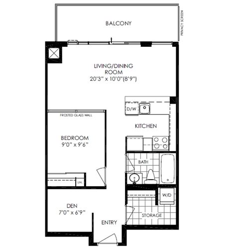 den floor plan 516 25 cole st 1 bed den at one cole condos regent