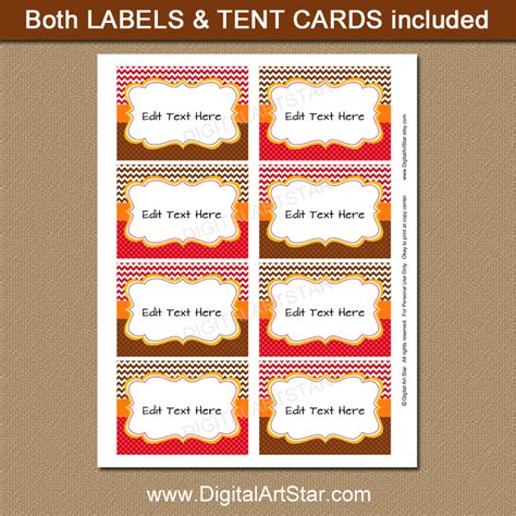 printable fall place cards template printable fall food labels fall place cards digital