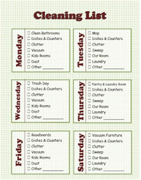 house cleaning stay at home house cleaning schedule