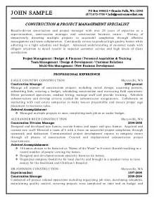 sle of construction resume sle resume format