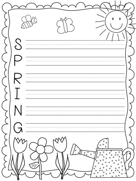 printable writing paper for spring acrostic poem template for spring writing freebie from a