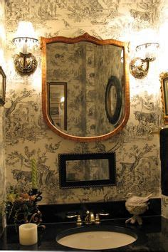 black and white toile wallpaper bathroom downstairs powder room redo on pinterest bathroom sinks