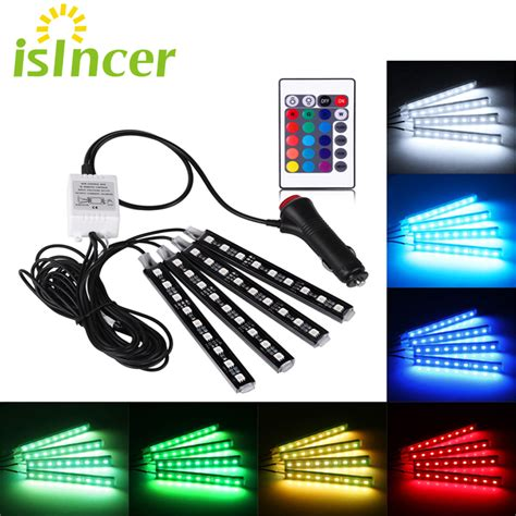 2 Biji Atmosphere Interior Decorative Light 9 Smd Blue car rgb led 4 9pcs smd 5050 10w car interior decorative atmosphere auto rgb pathway