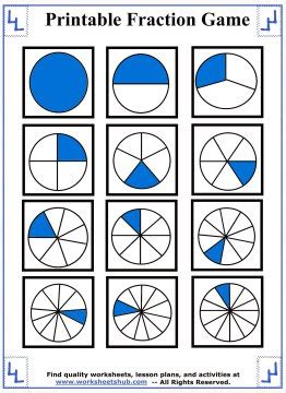 printable games with fractions free worksheets 187 printable fraction circles free math