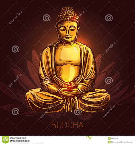 buddha and lotus buddha on lotus flower illustration stock vector image