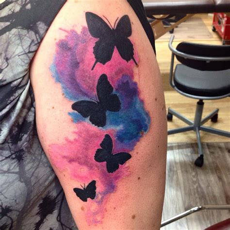 tribal butterflies with watercolor tattoo by