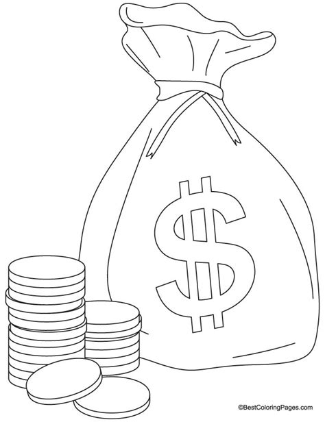coin coloring pages a bag of coins coloring pages free a bag of