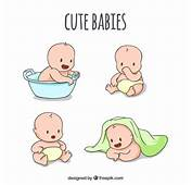 Sketches Of Cute Babies In Different Poses Vector  Free